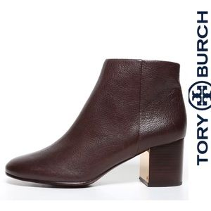 Tory Burch Brown Leather Ankle Boots Heels 8M